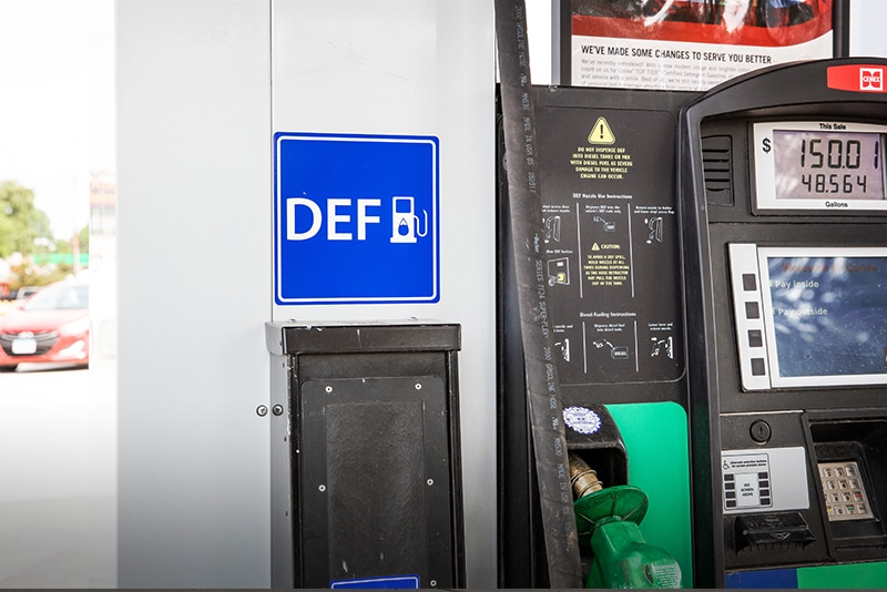 DEF dispenser at pump on island by Westmor