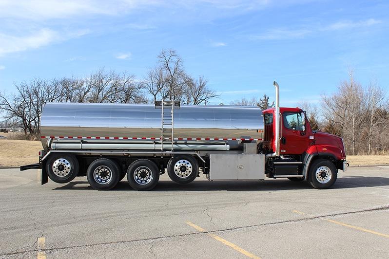 DEF medium flow cargo tank on red Freightliner - by Westmor
