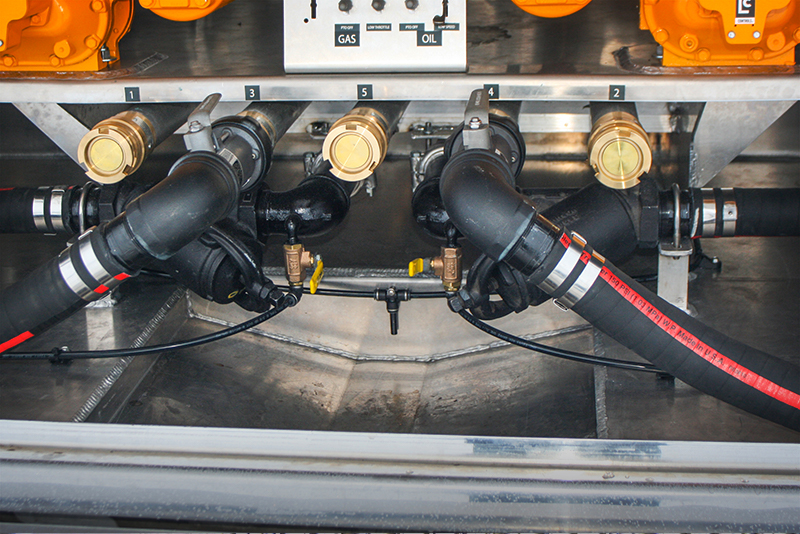 RBT recessed drain pan on refined fuel truck by Westmor