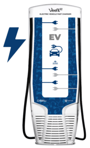 dispenser EV charging with lightning bolt back of pump by Westmor