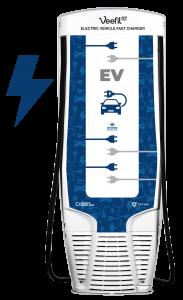 dispenser EV charging with lightning bolt back of pump by Westmor