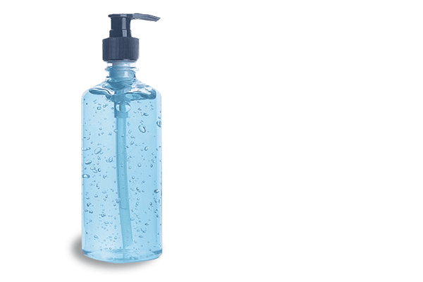 hand sanitizer bottle and text