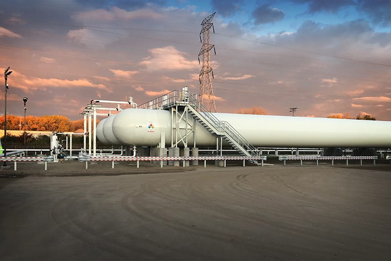 pressure vessel butane scene at sunrise by Westmor